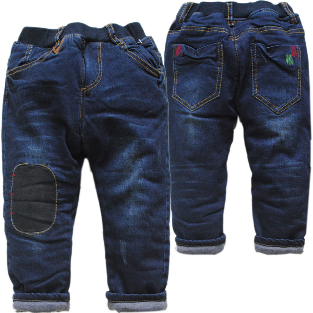 4081 zeer warme kinderen winter jeans jongens broek marineblauw katoen-gevoerde broek baby jongens jeans dikke winter mode