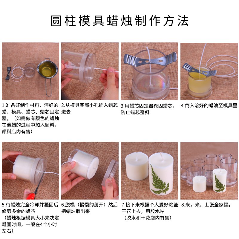 DIY Candle mold scented candle cylindrical mold plastic Candle Making Mould Cake Decoration Tools in Wax from Home Garden
