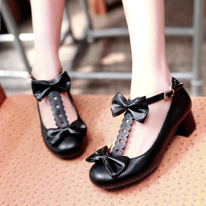 Femmes Lolita chaussures Mary Janes noir rose bloc talons mode noeud papillon T sangle chaussures dames Cosply princesse chaussures pour femmes