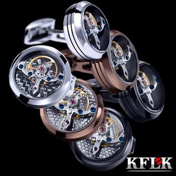 Gemelos de joyería KFLK para hombres, marca de reloj para puños con botón para puños, gemelos de movimiento mecánico, invitados de Tourbillon de alta calidad
