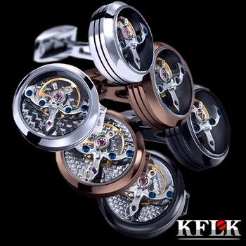 KFLK joyería camisa gemelos para hombre marca brazalete botón reloj movimiento mecánico gemelos enlace alta calidad Tourbillon envío gratis