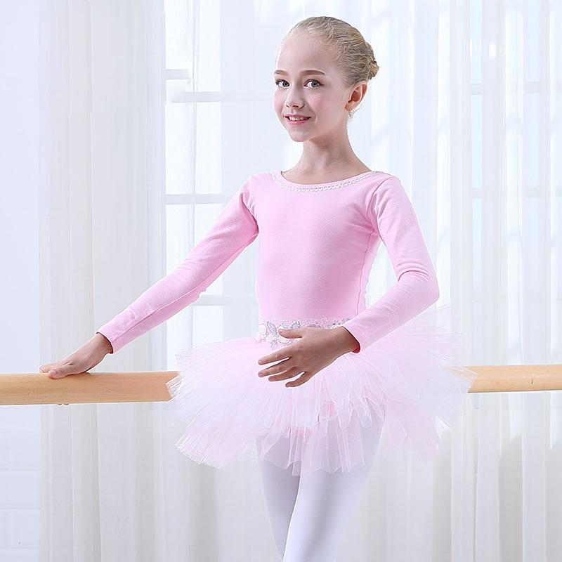 00e6286db4d3 Cotton Pink Ballet Skirt Children Professional Long Sleeve Dance ...