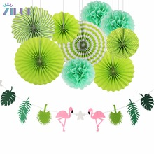 Zilue 10pcs Green Leaves Paper Flower Fan Birthday Party Decor Flamingo Garland Hawaii party decoration Home Festival Supplies