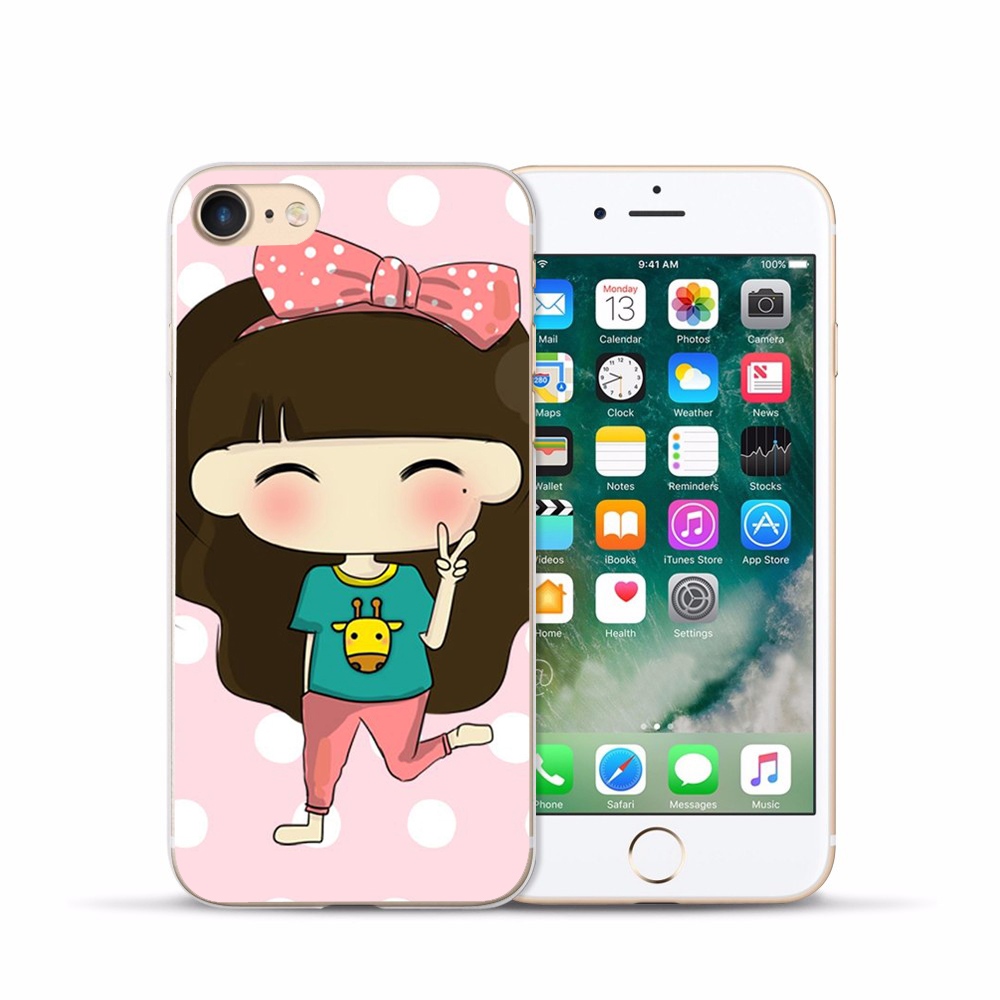US $1 23 5% OFF|Japanese and Korean girls hard shell Case Cover For Apple  iPhone4 4S 5 5S SE 5C 6 6S PLUS 7 7PLUS 8 8PLUS X Protective Shell-in Phone