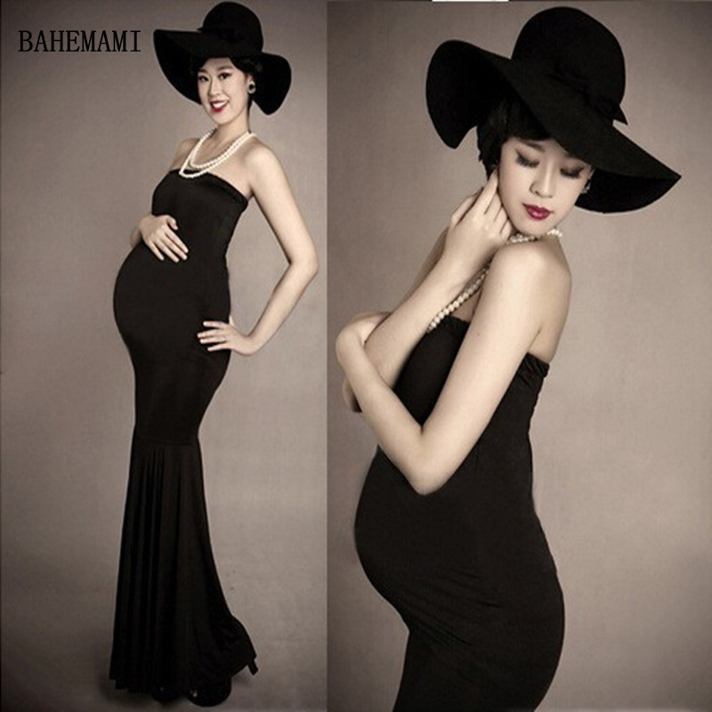 BAHEMAMI Maternity Photography Props Clothes For Pregnant Women Dress Pregnancy Clothing Photo Portrait Hat + dress + necklace