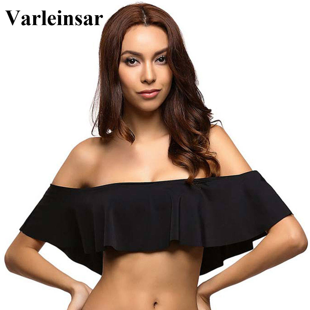 c791e1d1d30 Bather 2019 Sexy black bandeau ruffle off shoulder bikini top crop swimsuit  bathing suit swim wear women swimwear female V14TB
