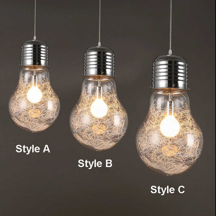 Personnalité créative pendentif lumières fer verre grande ampoule vintage lampe bar entrepôt russe 300mm * 450mm grand pendentif E27 lampes