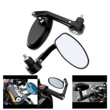 2x 7/8 Aluminum Rear View Side Mirror Handle Bar End Oval Black For Motorcycle hot
