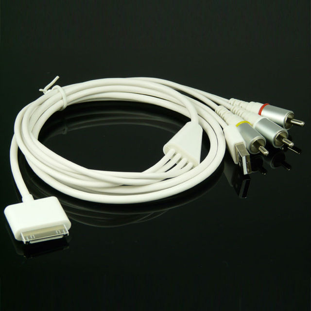 30-pin dock to rca composite av tv + usb charger adapter cable for apple  ipad 2 3 iphone 4 4s ipod