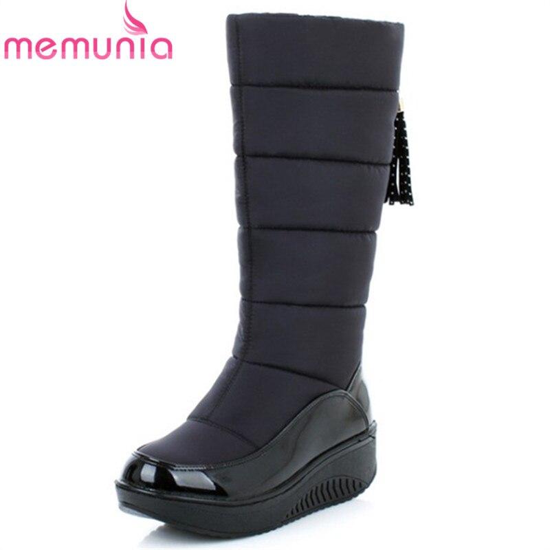 MEMUNIA Russia prezzo Basso Più Il formato 35-44 nuovi stivali da neve per le donne della piattaforma nappa slip on tenere in caldo di inverno delle donne stivali alti al ginocchio