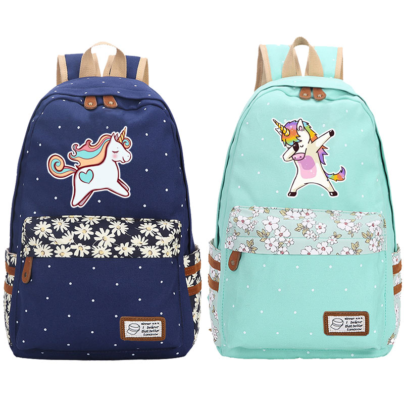 Unicorn Dabbing Cartoon Backpack For School Girls Canvas Bags For  Teenagers   Travel Mochila Unicornio Shoulder High Quality