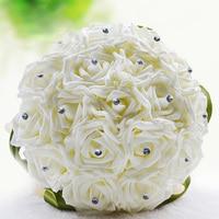 Nuovo Arrivo Handmade Wedding Bridal Bouquet Realistica PE Fiori Rose Con Nastro Verde Perle di Cristallo Wedding Bouquet Sposa