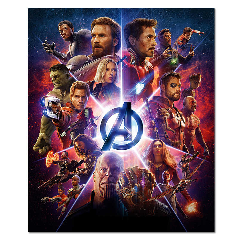 Avengers Poster Marvel Movie Prints SuperHero Film Thanos Silk Wall Art Wall Decorative Large Room Silk Picture