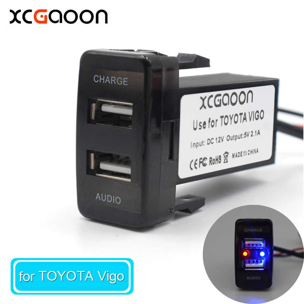 XCGaoon Special Dedicated 5V 2.1A Car USB Interface Socket Charger Adapter and USB Audio input Socket for TOYOTA Hilux VIGO