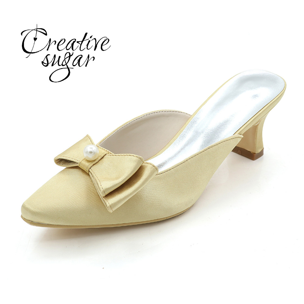 Creativesugar lady Mules hoof heel satin evening dress shoes with pearl bow sweet pointed toe pumps Champagne ivory purple red creativesugar lady low heel dress