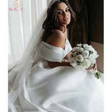 Elegant Off The Shoulder Ball Gown Wedding Dresses 2019 Chapel Train Church vestidos de noiva Satin Bridal Gowns robe mariee