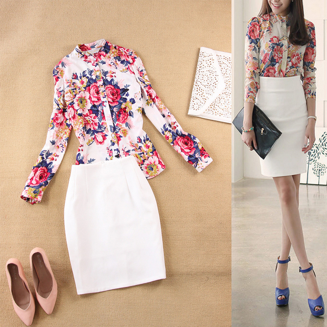 Fashion high quality spring and summer new cotton printed collar long sleeve shirt + white Slim skirt suit