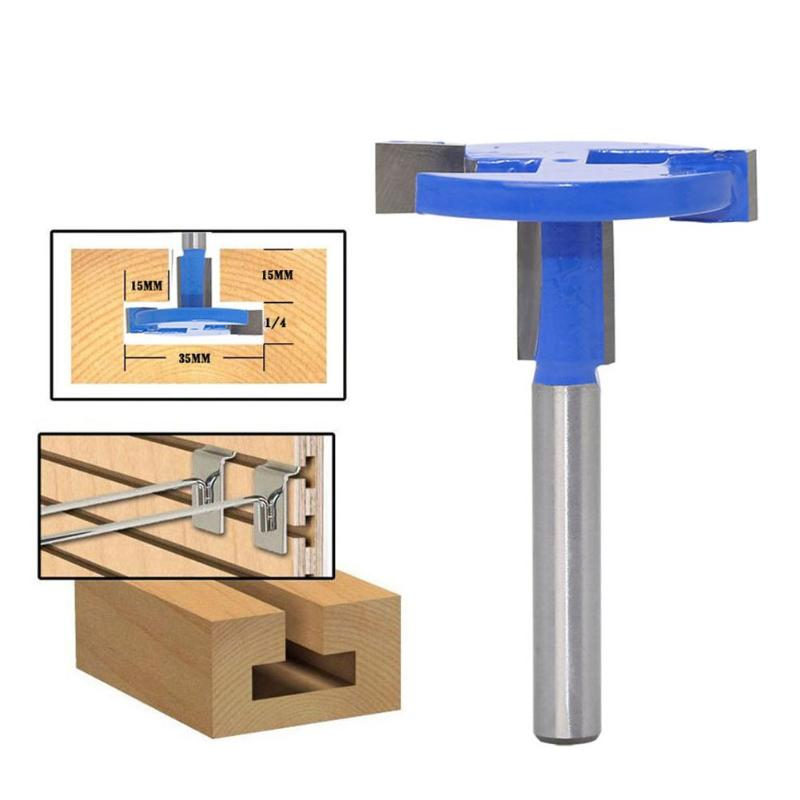 1/4in T-type Wood Router Bit Mill Engraving Trimmer Adapter Milling Cutter  Woodworking Tool