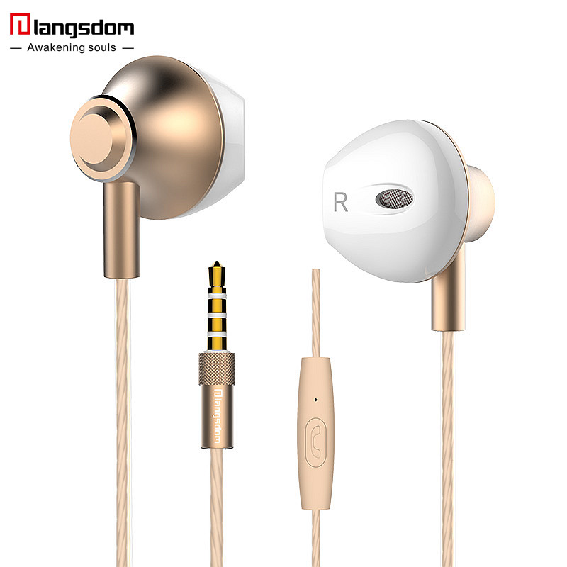 Langsdom F9 3 5mm Ergofit Earphone Metal Bass Earphones with Microphone Stereo Headset Earbuds for Phone