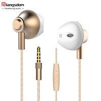 Langsdom F9 3 5mm Half In Ear Earphone Metal Bass Earphones With Microphone Headset Earbuds For