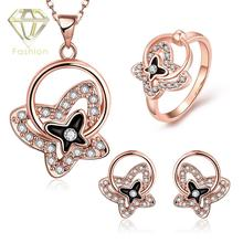 /Rose/White Gold Plated Crystal Butterfly Necklace+Earrings+Ring Bridal Jewelry Sets