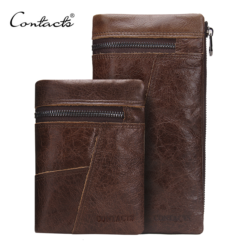 CONTACT'S Genuine leather Men Wallet Zipper Design 2 style Vintage Luxury Brand Clutch Wallets Card Holder Coin Bags Handbags brand design men luxury individuality vintage long wallet skull style genuine cow leather purse men s clutch handy phone bags