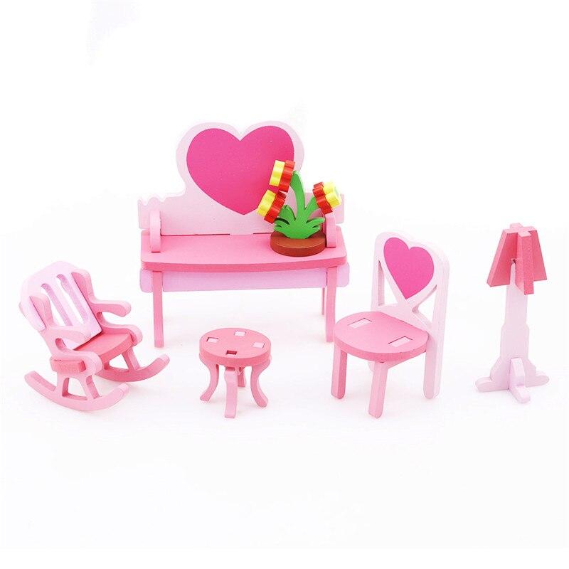 1 Set Houten 3d Montage Puzzel Home Tafel Stoel Dressoir Speelgoed Hoge Kwaliteit Nieuwe Kids Kinderen Diy Educatief Speelgoed Model 6 Keuzes Stevige Constructie