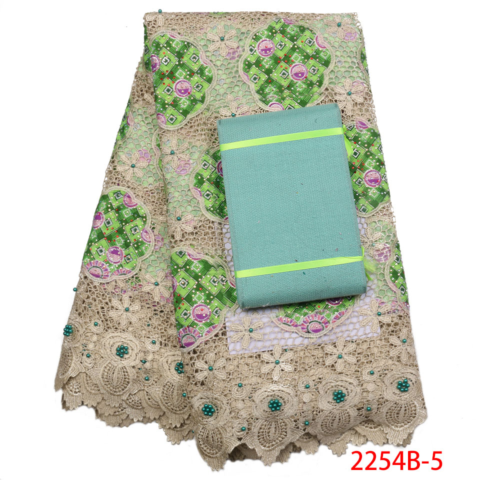 2019 High Quality African Ankara Lace Fabric Add Aso Oke Nigerian Stones Material Water Soiuble Lace