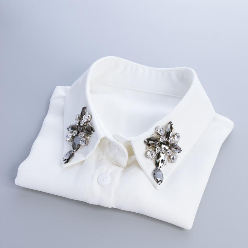 Confident Spring Glass Cross Shirt Half Collar Shirt Super Exaggerated Jacket Pearl Shirt False Fake Collar Shirt Sweater Collier Femme Home