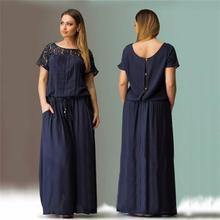 2017 Woman Short Sleeve Lace Summer Dress Big Sizes L-6XL New Women Summer Plus Size Long Maxi Party Dress Vintage Vestidos