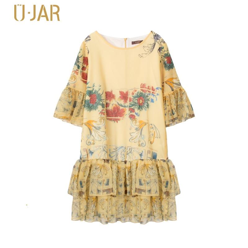 UJAR Summer New Vestido Infantil Half Sleeve Print Chiffon Dress Floral Flower Princess Dresses U42N412 вечернее платье mermaid dress vestido noiva 2015 w006 elie saab evening dress