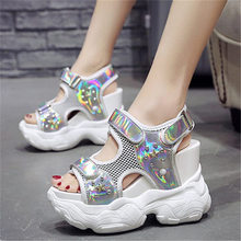 NAYIDUYUN  Sport Sandals Women Platform Wedges Gladiators High Heel Spike Stud Strappy Fashion Summer Sneakers Creepers Shoes