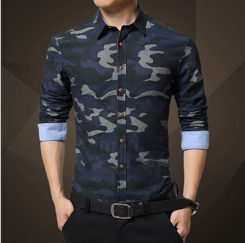 2b4fa8edf4c Men s Slim Fit Camo Shirt Mens Casual Camouflage Shirts Long Sleeve 2016  Fashion Designer Brand Cotton Chemise Homme XXXL
