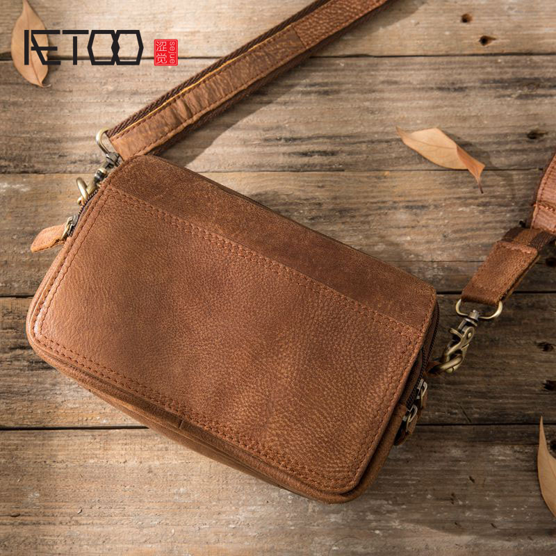 AETOO New Messenger bag Japanese retro leather wallet leather casual men bag men bag shoulder bag