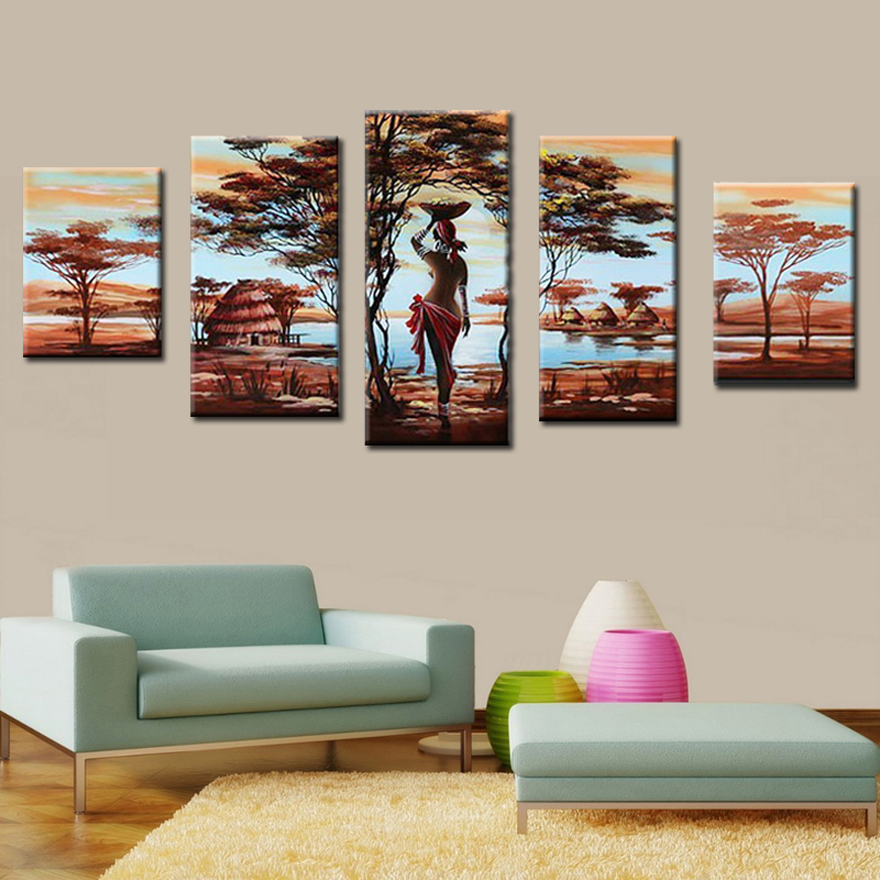 Hand Painted Painting Sexy Nude African Women Canvas -3514