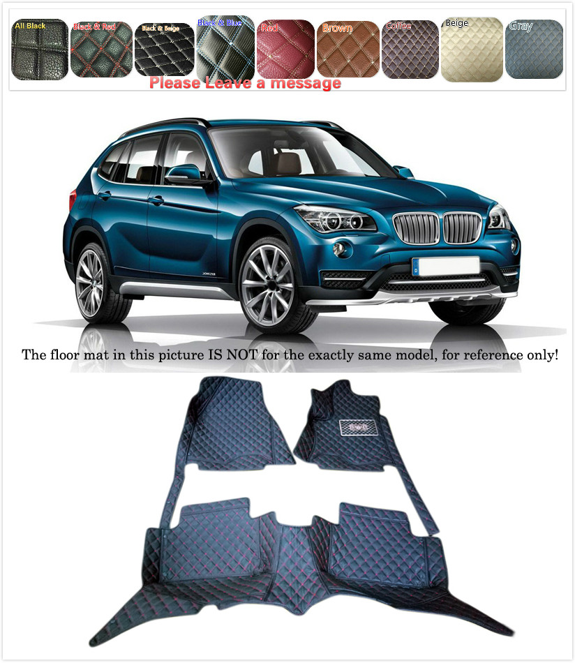 5 Seats 1 Set Customs Car Floor mat Leather Waterproof Front & Rear Floor Mats Carpets Pads for BMW X1 E84 2011 2012 2013 14 15 customs 5 seats 1 set car floor mat leather waterproof front