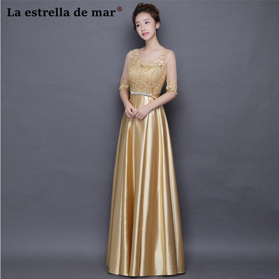 72de927fd8164 Vestidos de festa vestido longo para casamento new lace Half sleeve a Line  gold royal blue