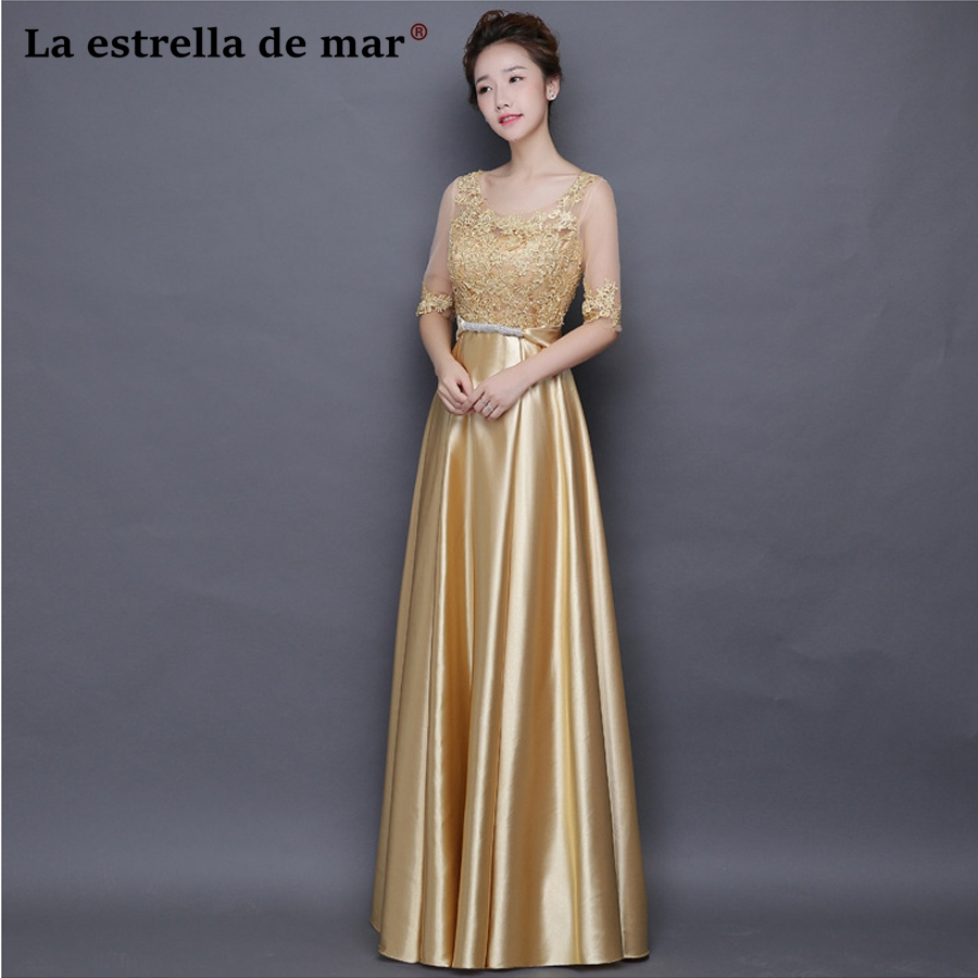 Vestidos de festa vestido longo para casamento new lace Half sleeve a Line gold royal blue red   bridesmaid     dresses   cheap elegant