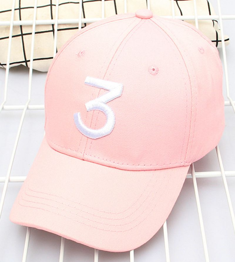 Embroidery Number 3 Baseball Hat Sunshade Baseball Hat Cotton Baseball Hat Universal Baseball Hat