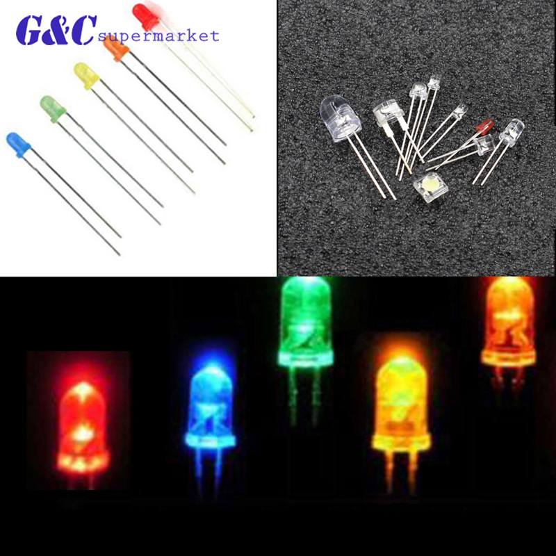 100PCS 5mm Round Green Water Clear LED Light Diodes Kit New