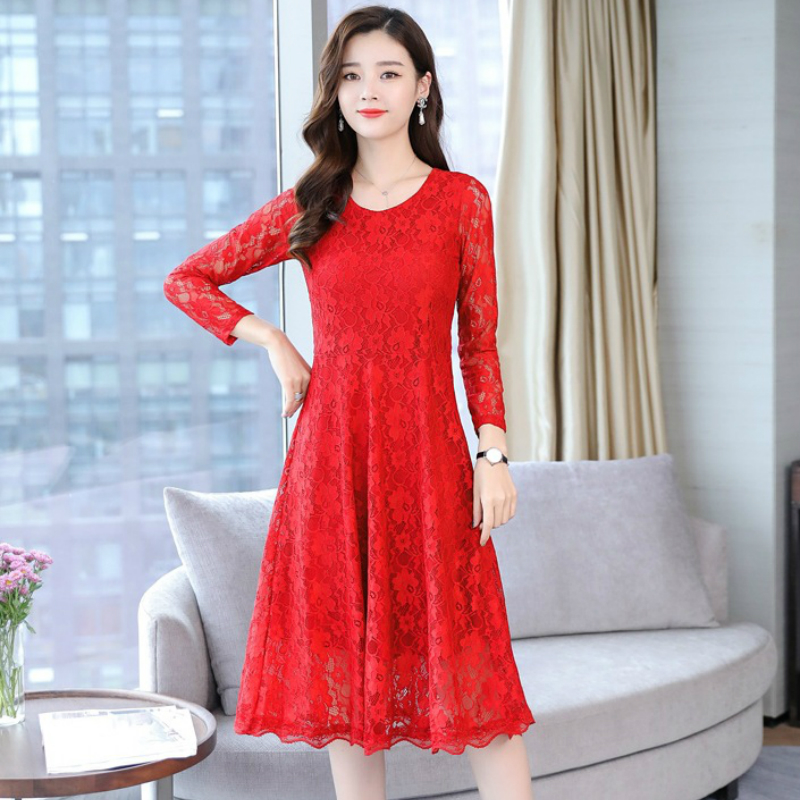 27d1de26a4f Elegant Floral Lace Fleece Tunic Draped Midi Dress Women Vintage Korean  Sweet Office Party Fashion Beach