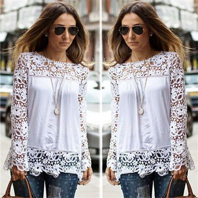 d0b7696b2 Blusas Femininas Autumn Fashion Women Blouse 2016 Long Sleeve Crochet Women  Casual White Lace Blouse Shirts Plus Size 5XL