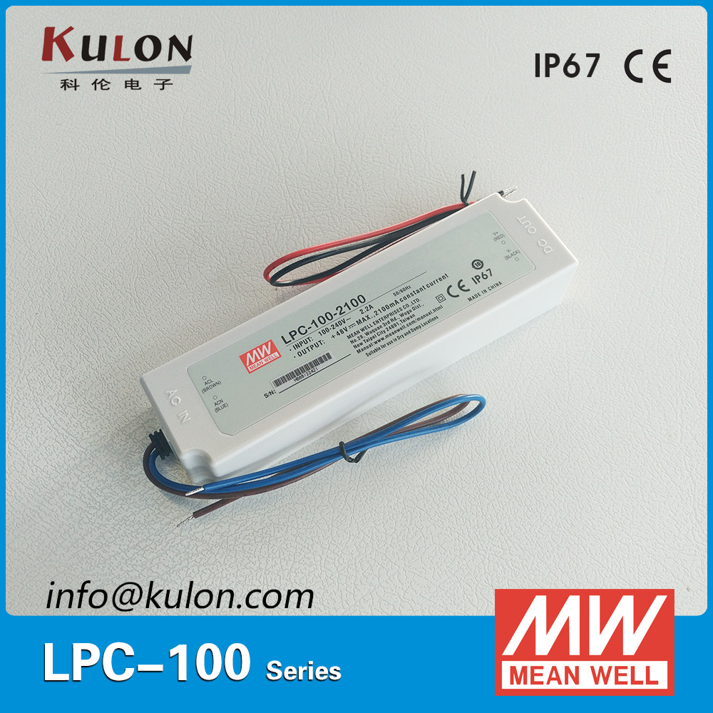 Original Meanwell LPC-100-2100 Waterproof LED power supply Single Output 100W 2100mA driver