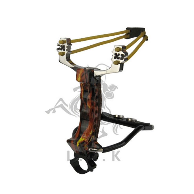 ФОТО Top Quality Red swordsman slingshot with trailing arm Hunting Powerful Catapult Stainless Steel Hunter Adult Professional Hunter