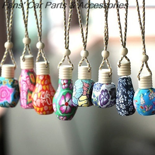 5pcs/lot Polymer Clay Hanging Perfume Fragrance Bottle Refillable Car Home Air Freshener