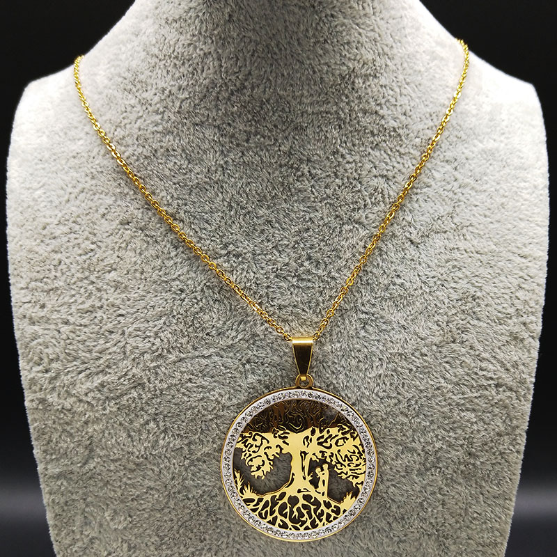 2019 Fashion Couple Tree of Life Crystal Stainless Steel Chain Necklaces for Women Gold Color Necklaces Jewelry bijoux N18811 in Pendant Necklaces from Jewelry Accessories