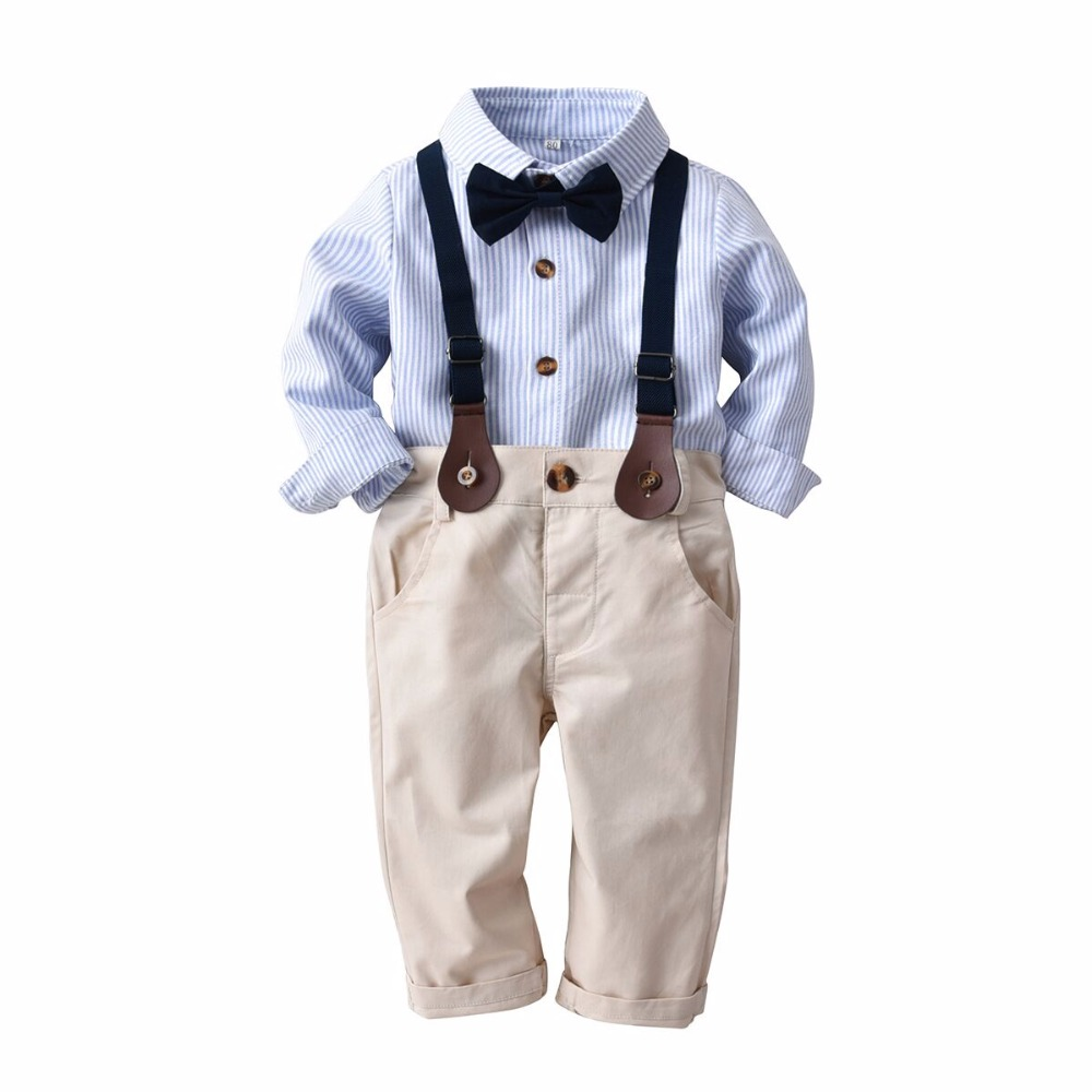 fa500bb1f067 Children boys clothing sets 2019 formal gentleman suits strip bow ...
