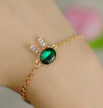 New Fashion Jewelry Temperament Exquisite Simplicity Crystal Bracelet Women Sea Green Rabbit Bracelet For Women & Girl