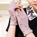 Luvas Sem Dedos Luvas Do Laço Do Vintage Com Flores Impressão feminino Verão Respirável Gants Femme Smartphone Toque luvas Guantes Mujer