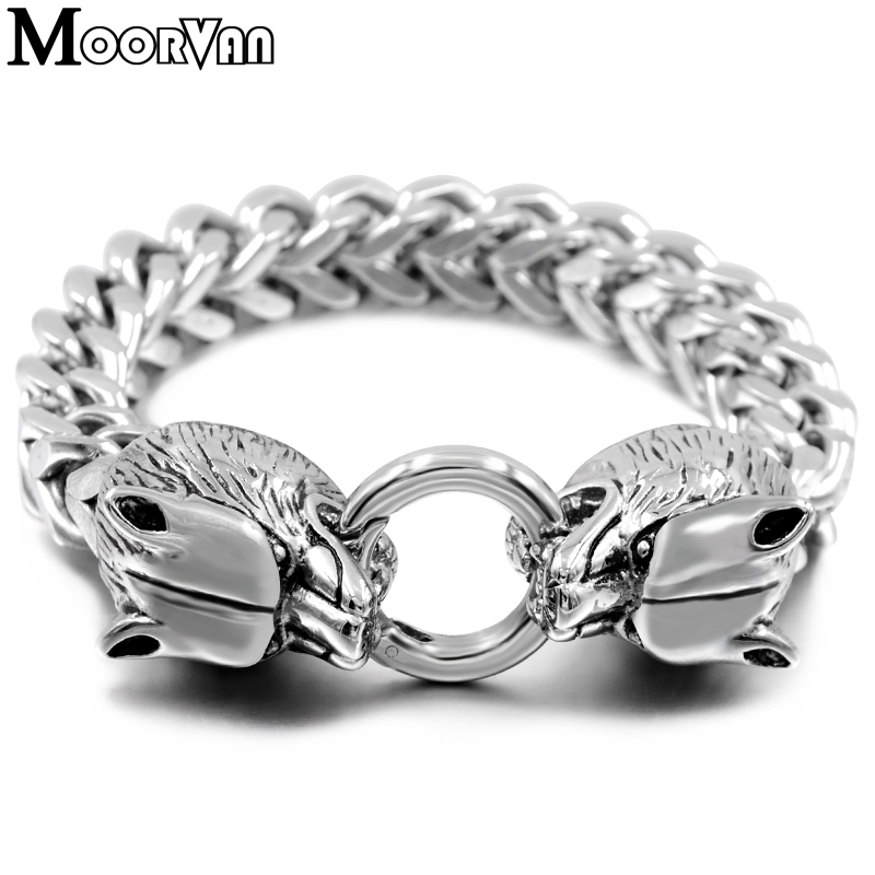 Moorvan cool man wolf braceletS fashion box squared double cut chain 10mm stainless steel silver color animal bracelet men VB449